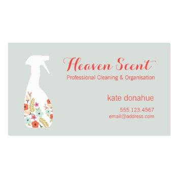 Small Floral Spray Bottle House Cleaning Logo Business Business Card Front View