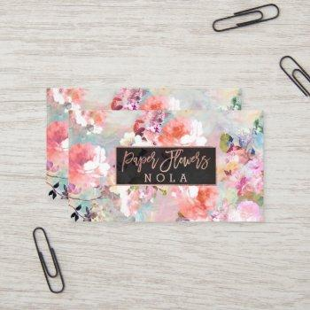 floral watercolor logo typography rose gold business card