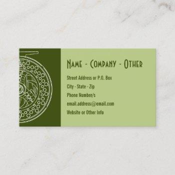 fly fishing reel white silhouette art shop guide business card
