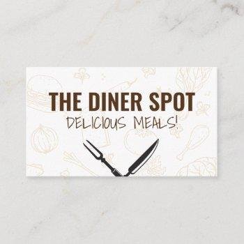 food icons and cutlery business card