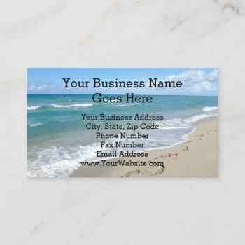 footprints in the sand inspirational christian business card