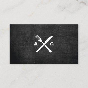 fork & knife logo monogram no. 2 on black wood business card