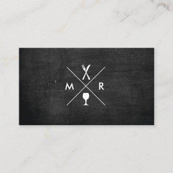 fork & knife logo monogram on black wood business card
