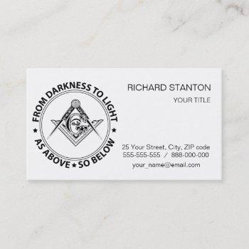 freemasonry emblem business card