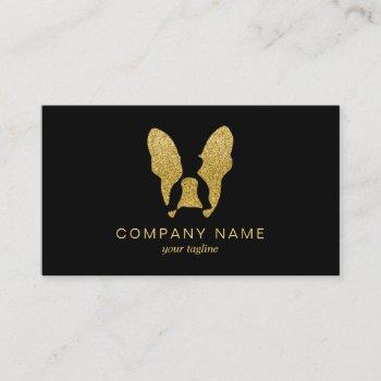 french bulldog with gold glitter business card