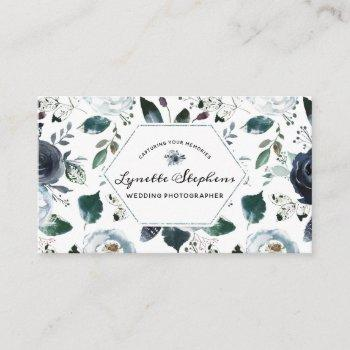 french twilight floral watercolor vintage bohemian business card
