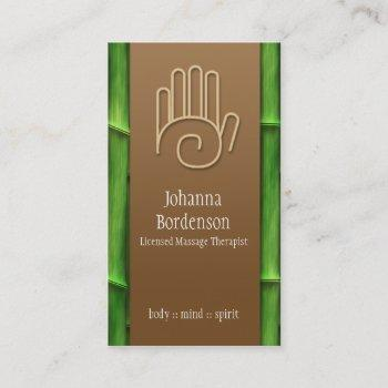 fresh bamboo massage therapy business card