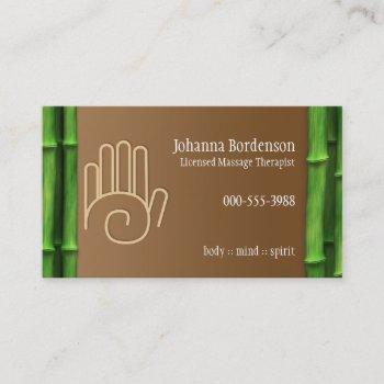 fresh bamboo massage therapy horizontal alternate business card