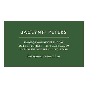 Small Fresh Vegetables Business Card Back View