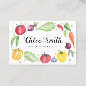 fresh watercolor vegetables business card