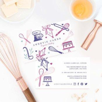 fun colorful baking & cooking utensil white business card