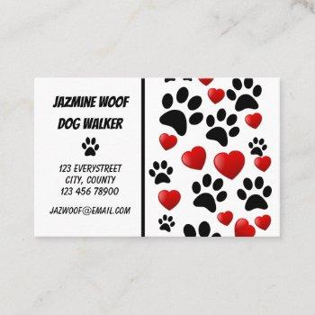 fun dog walker paw and hearts pet sitter business card