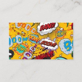 fun modern comic book shout outs business card