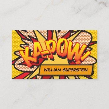 fun retro comic book colorful business card