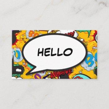 fun retro comic book speech bubble hello business card