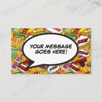 fun retro comic book speech bubble message business card