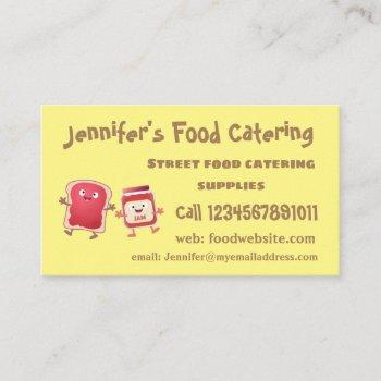 funny bread and jam cartoon characters business card