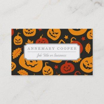 funny brown and orange halloween pumpkins pattern business card