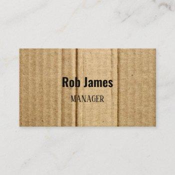 funny brown cardboard business card