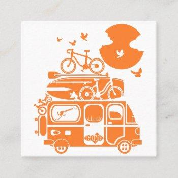 funny family vacation campervan square business card
