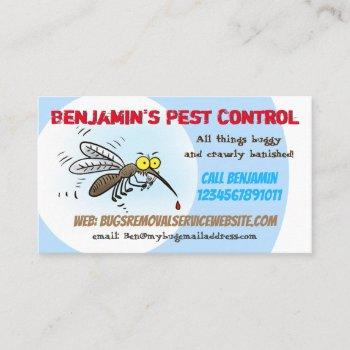 funny mosquito pest control business business card