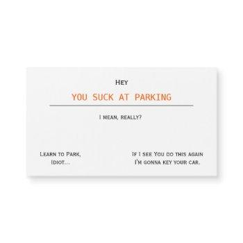 funny offensive you suck at parking magnetic cards