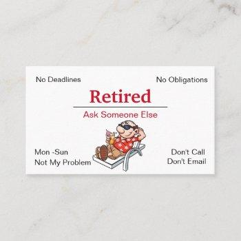 funny out of business retirement business card