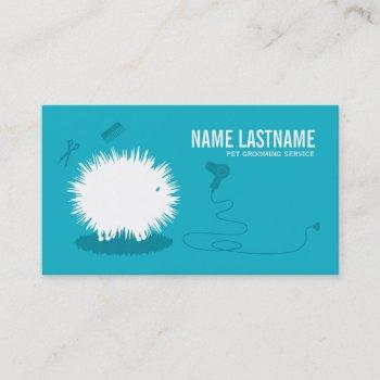 funny pet grooming business card blue