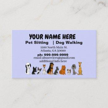 funny pet sitter business cards