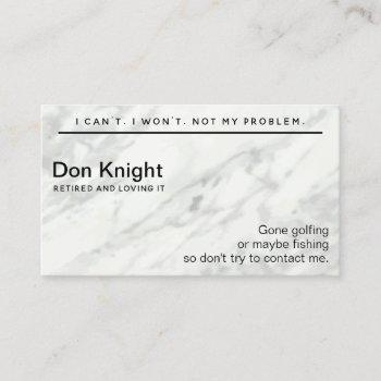 funny retired gag gift business card