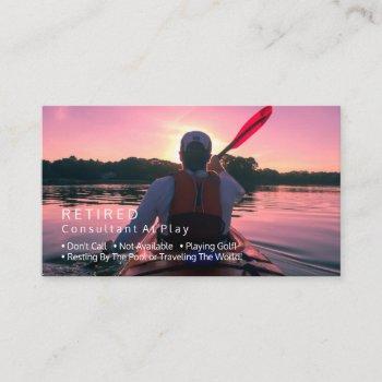 funny retired, kayaking sunset, diy profession gag business card