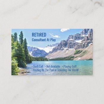 funny retired, lake mountains, diy profession gag business card