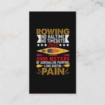 funny rowing hobby rower humor kayaking business card
