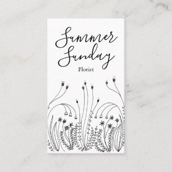 garden line art florist landscaper business card