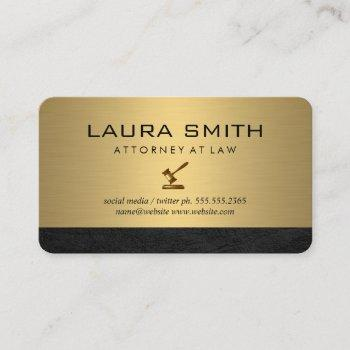 gavel icon | attorney | gold metallic leather trim business card