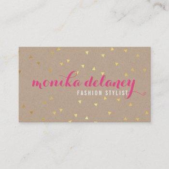 geo confetti gold stylish trendy kraft bright pink business card