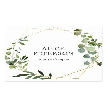 Small Geometric Greenery Eucalyptus Square Business Card Front View