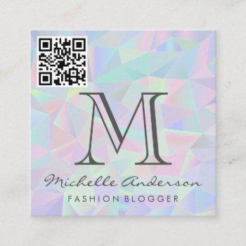 geometric holographic background   qr scan label square business card