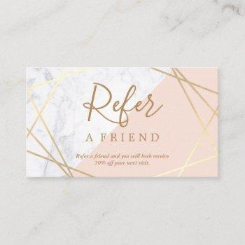 geometric marble gold light pink referral business card