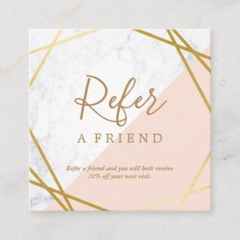 geometric marble gold light pink square referral square business card