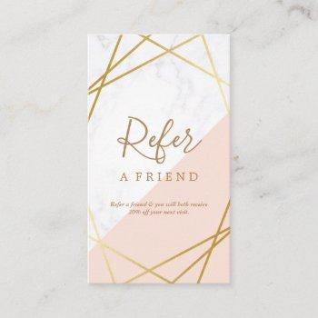 geometric marble gold light pink vertical referral business card
