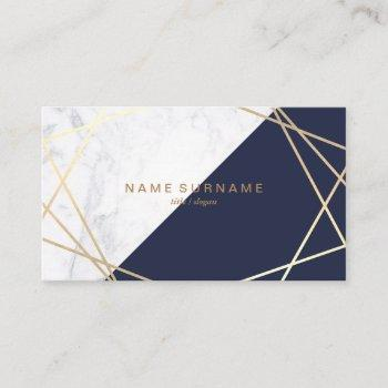 geometric marble gold midnight blue business card