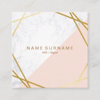 geometric marble gold pink square business card