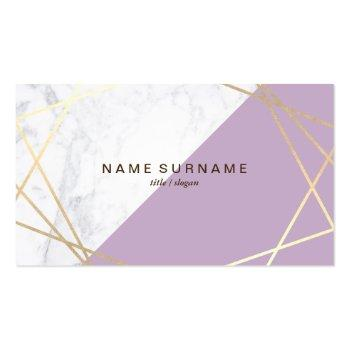 Small Geometric Marble Lavender Gold Business Card Front View