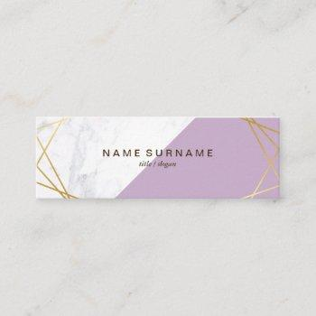 geometric marble lavender gold mini business card