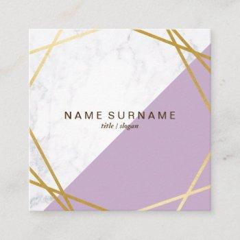 geometric marble lavender square business card