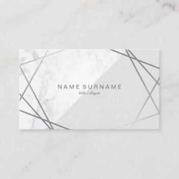 geometric marble silver grey social business card