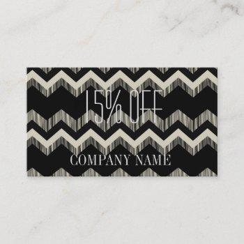 geometric pattern fashion black and white chevron business card