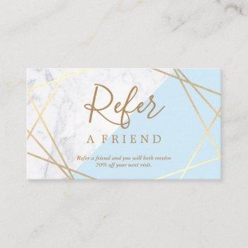 geometric pattern marble gold light blue referral business card
