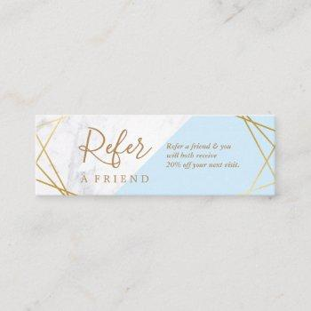 geometric pattern marble gold light blue referral mini business card